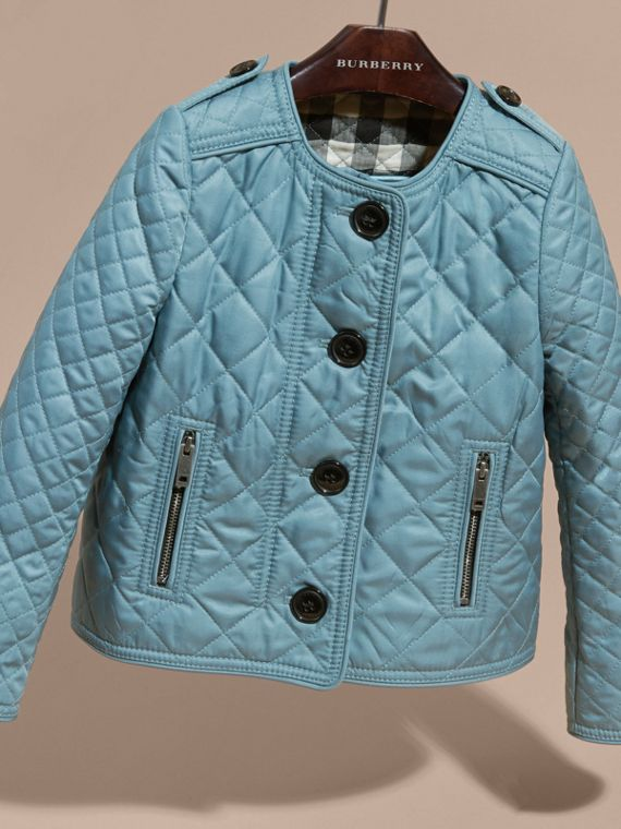 Collarless Diamond Quilted Jacket Dusty Teal Blue - cell image 2