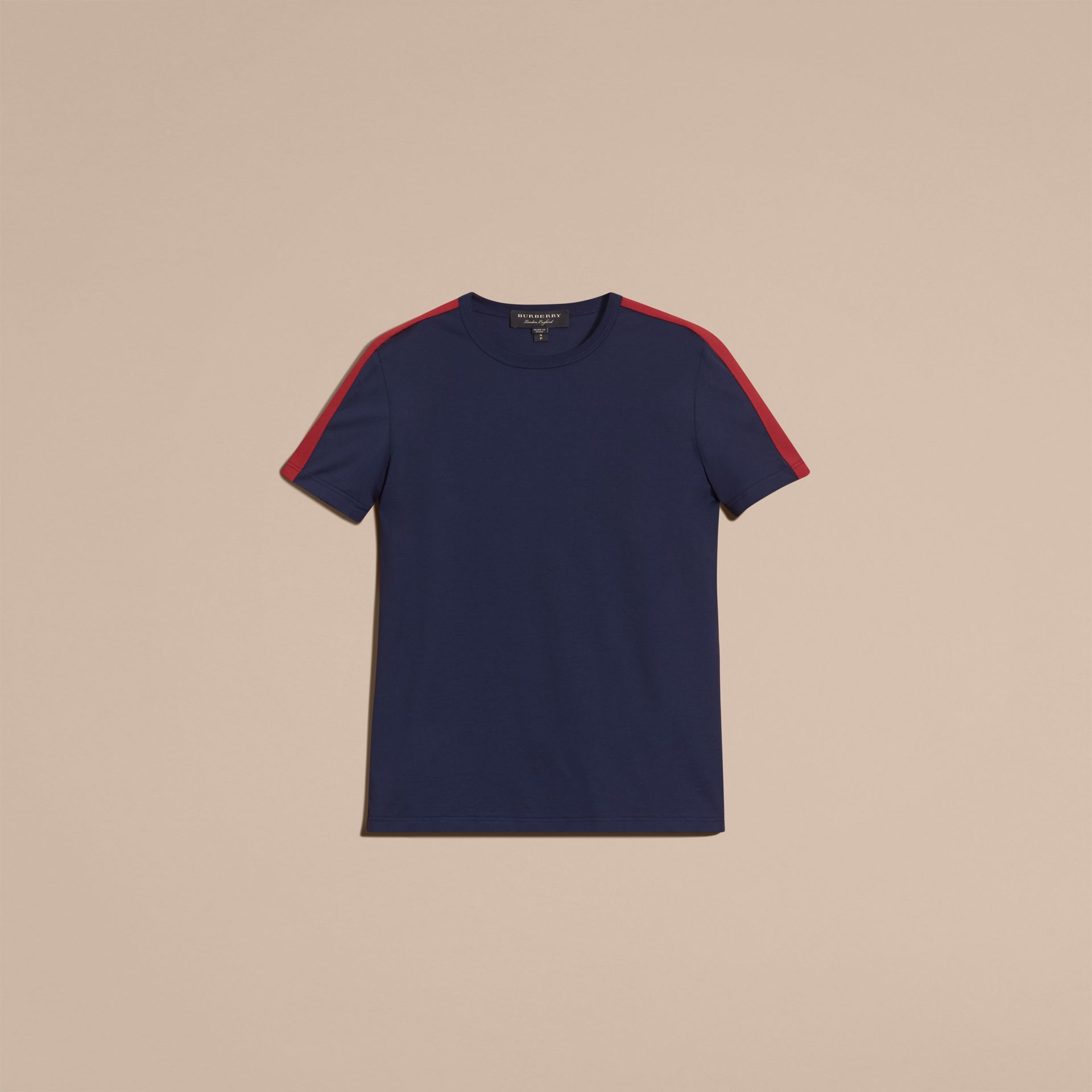 Navy Shoulder Stripe Cotton T-shirt Navy - gallery image 4