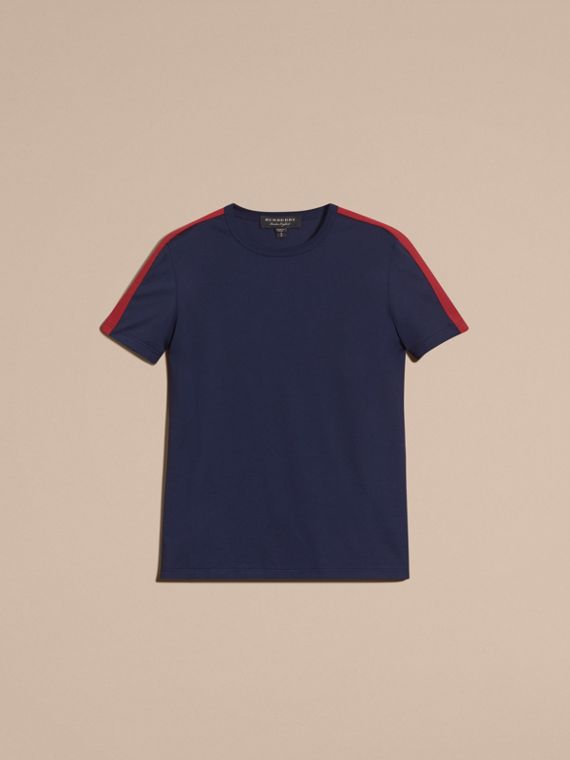 Navy Shoulder Stripe Cotton T-shirt Navy - cell image 3