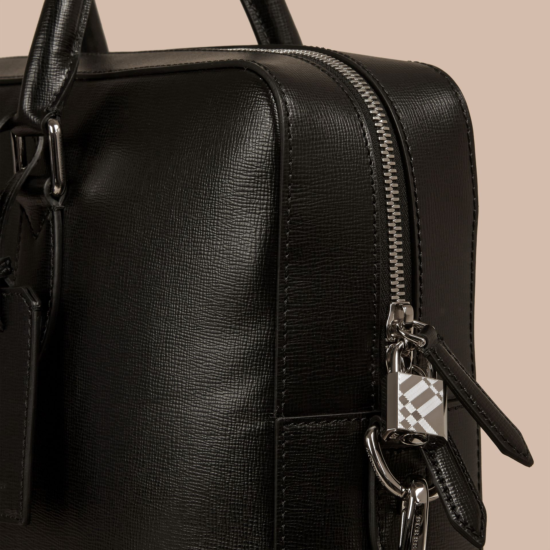 Large London Leather Briefcase in Black - gallery image 5