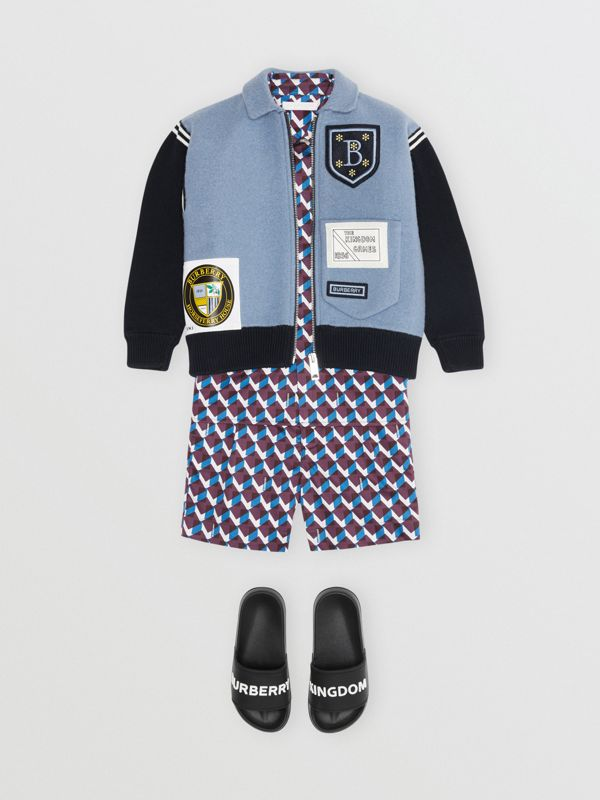 Patch Detail Merino Wool Blend Varsity Jacket in Dusty Blue - Children | Burberry - cell image 2