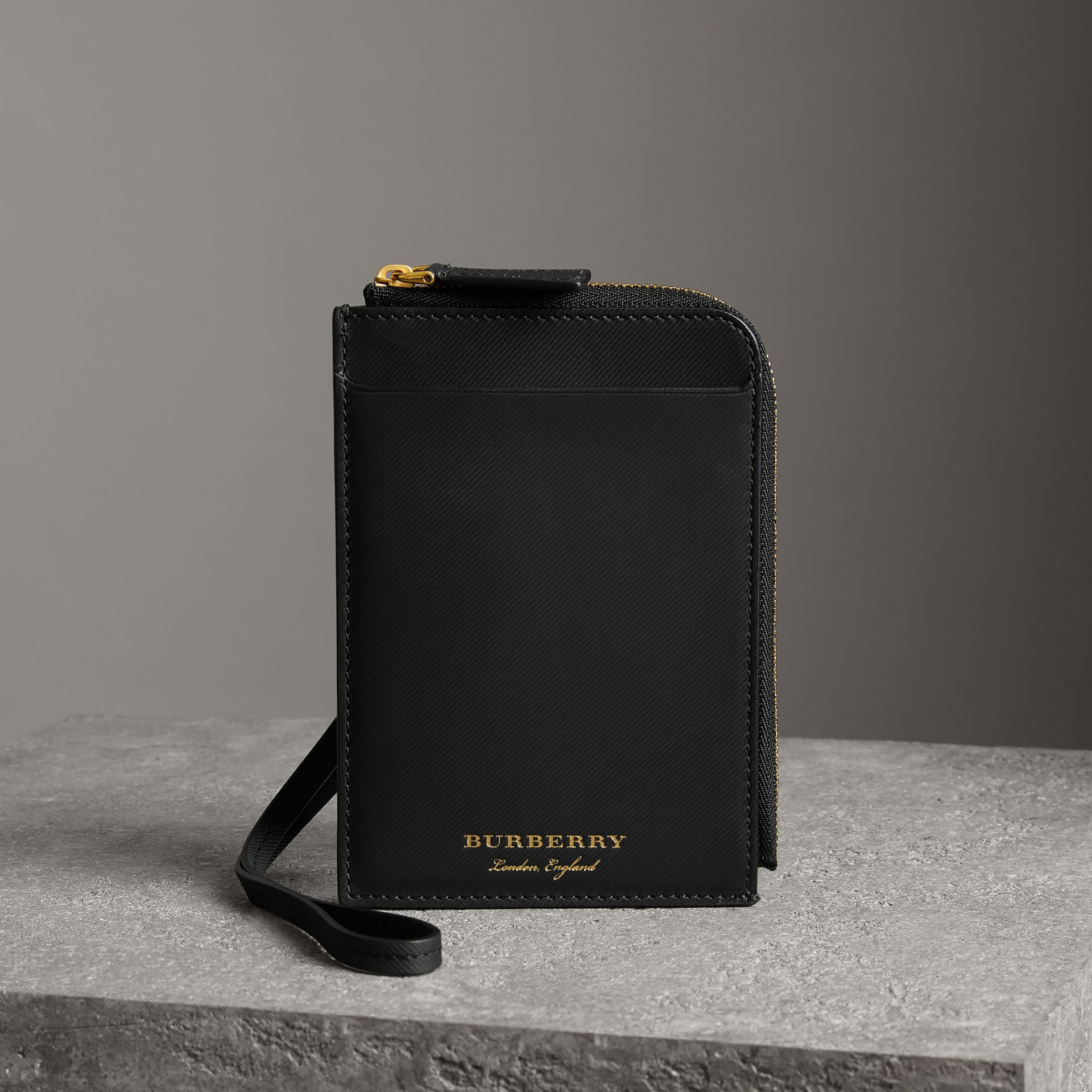 Trench Leather Ziparound Passport Holder in Black | Burberry - gallery image 0