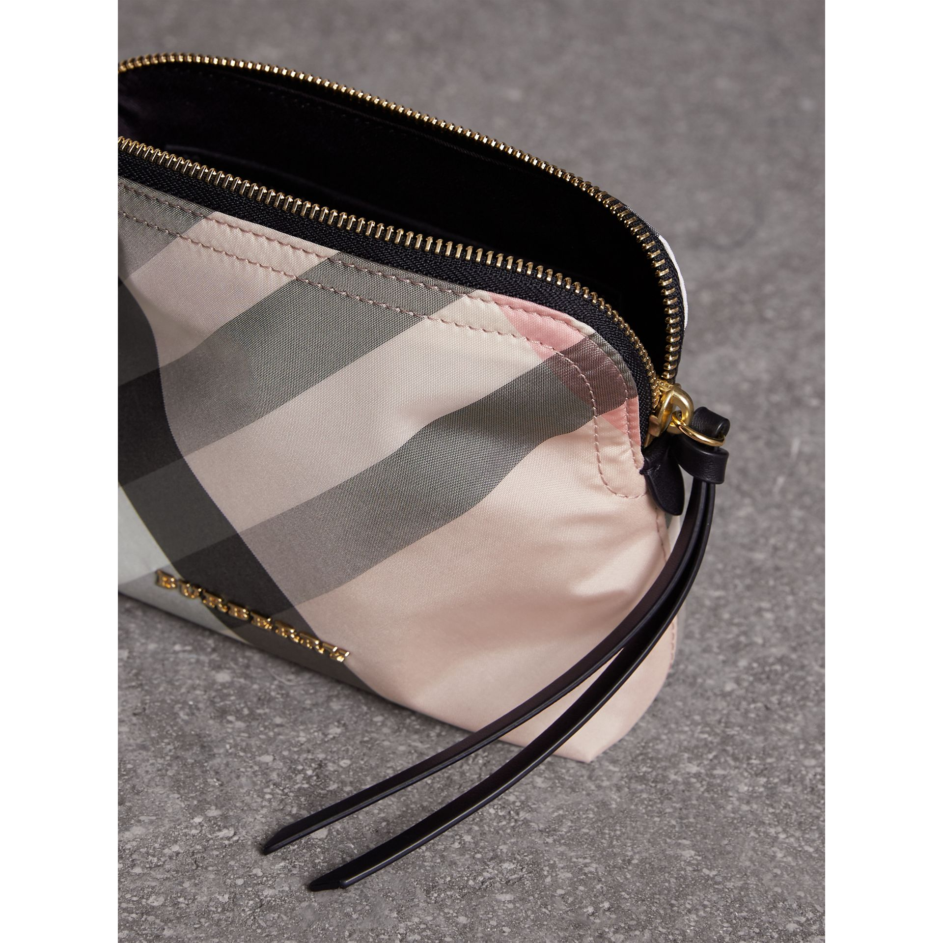 Medium Zip-top Check Technical Pouch in Ash Rose - Women | Burberry - gallery image 4