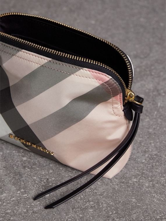 Medium Zip-top Check Technical Pouch in Ash Rose - Women | Burberry Australia - cell image 3