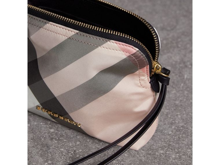 Medium Zip-top Check Technical Pouch in Ash Rose - Women | Burberry Canada - cell image 4
