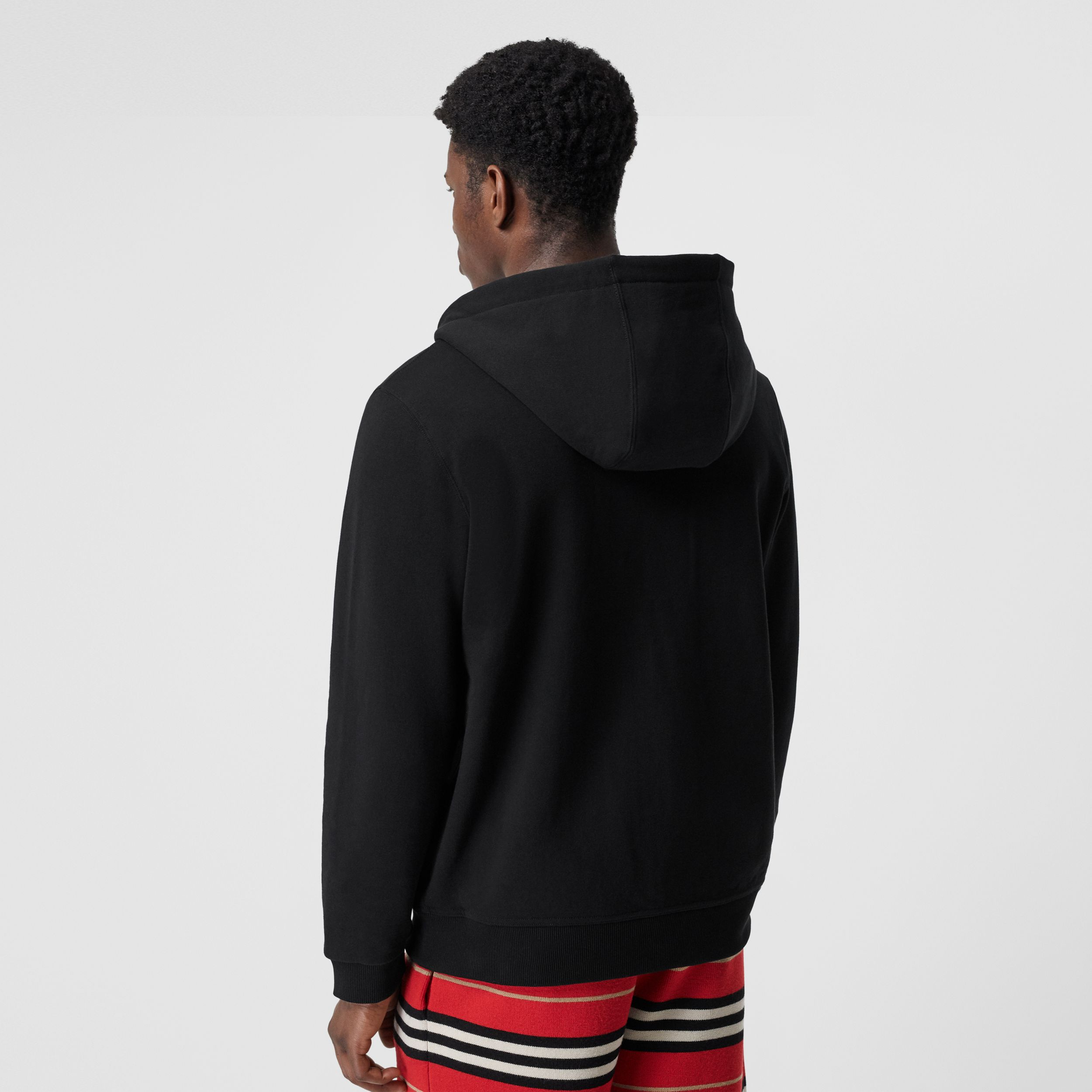 Monogram Motif Cotton Hooded Top in Black | Burberry - 3