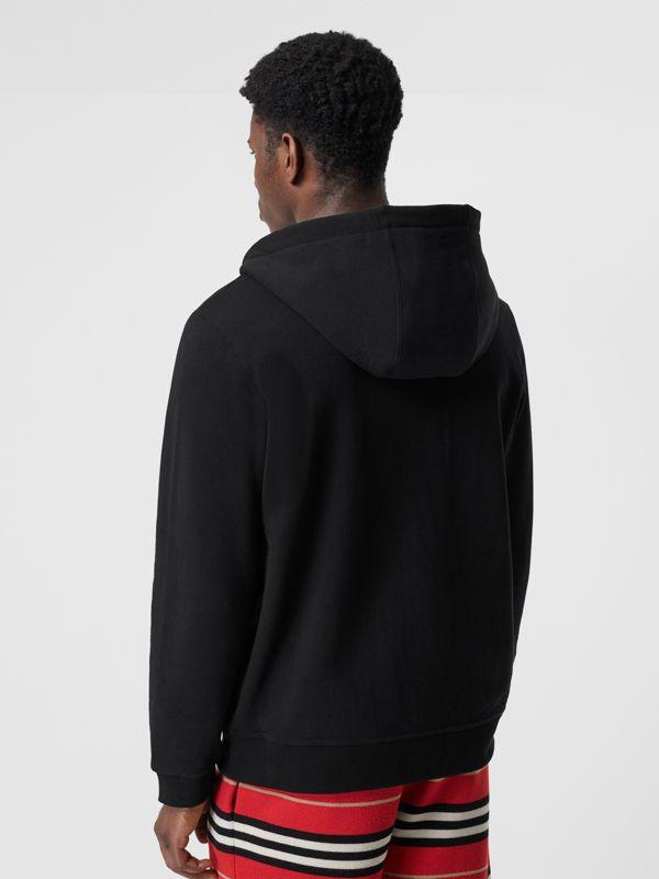 Monogram Motif Cotton Hooded Top in Black - Men | Burberry - cell image 2