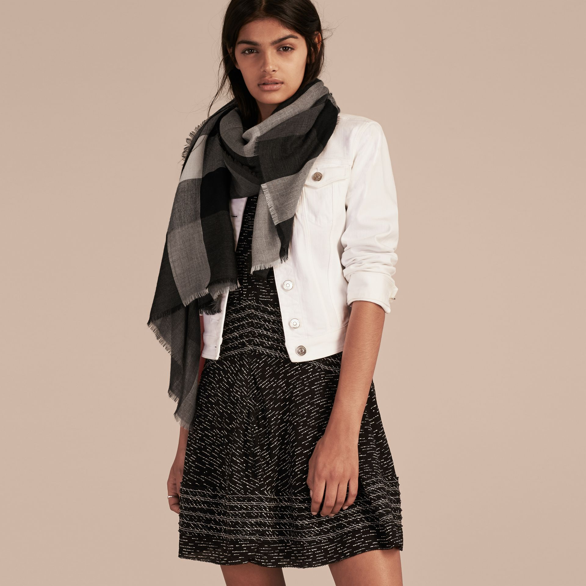 The Lightweight Cashmere Scarf in Check in Charcoal - gallery image 3