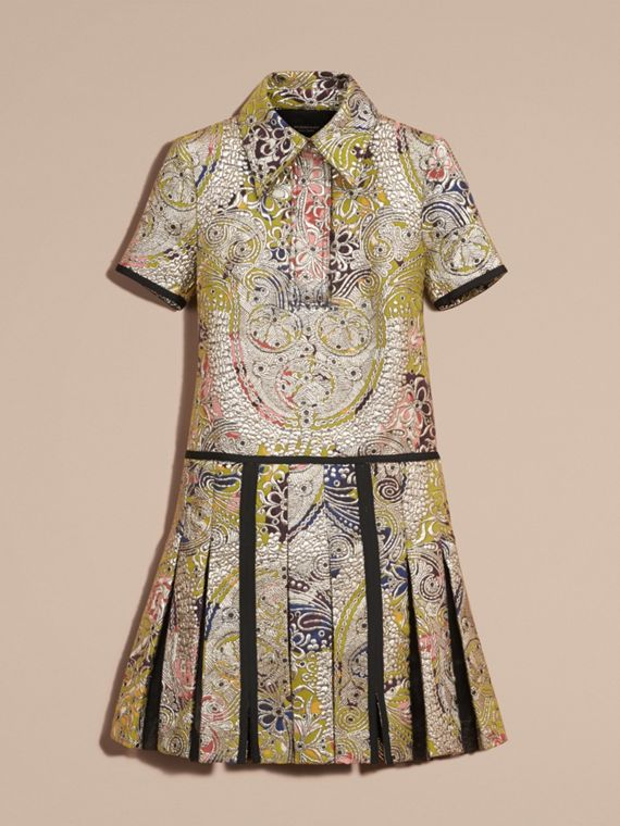 Green oxide Metallic Floral Jacquard Shirt Dress - cell image 3