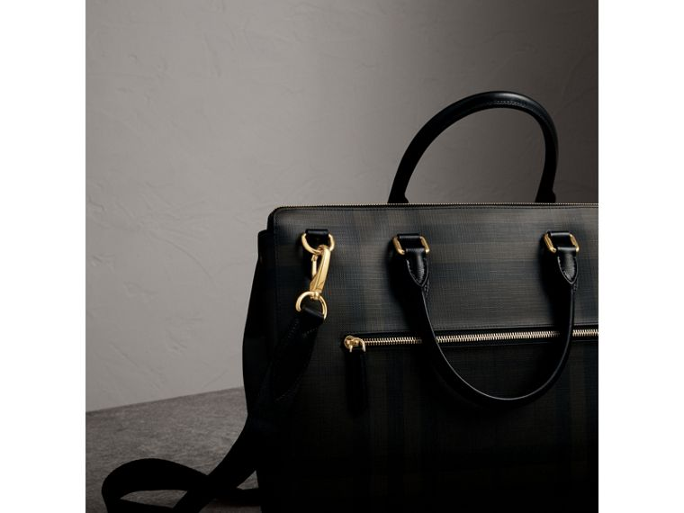 Large London Check Briefcase in Chocolate/black - Men | Burberry - cell image 1