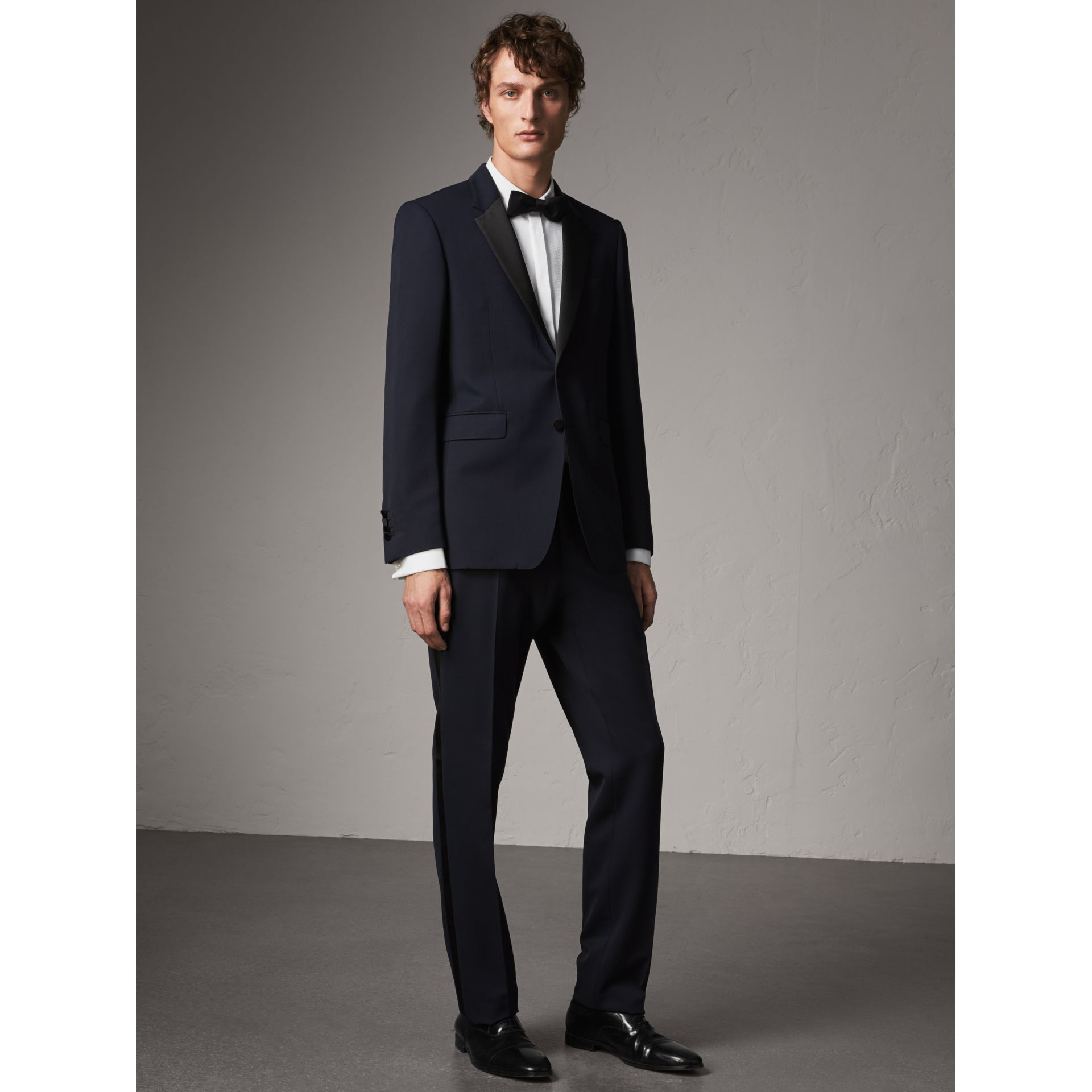 Modern Fit Virgin Wool Half-canvas Tuxedo in Navy - Men | Burberry - gallery image 1