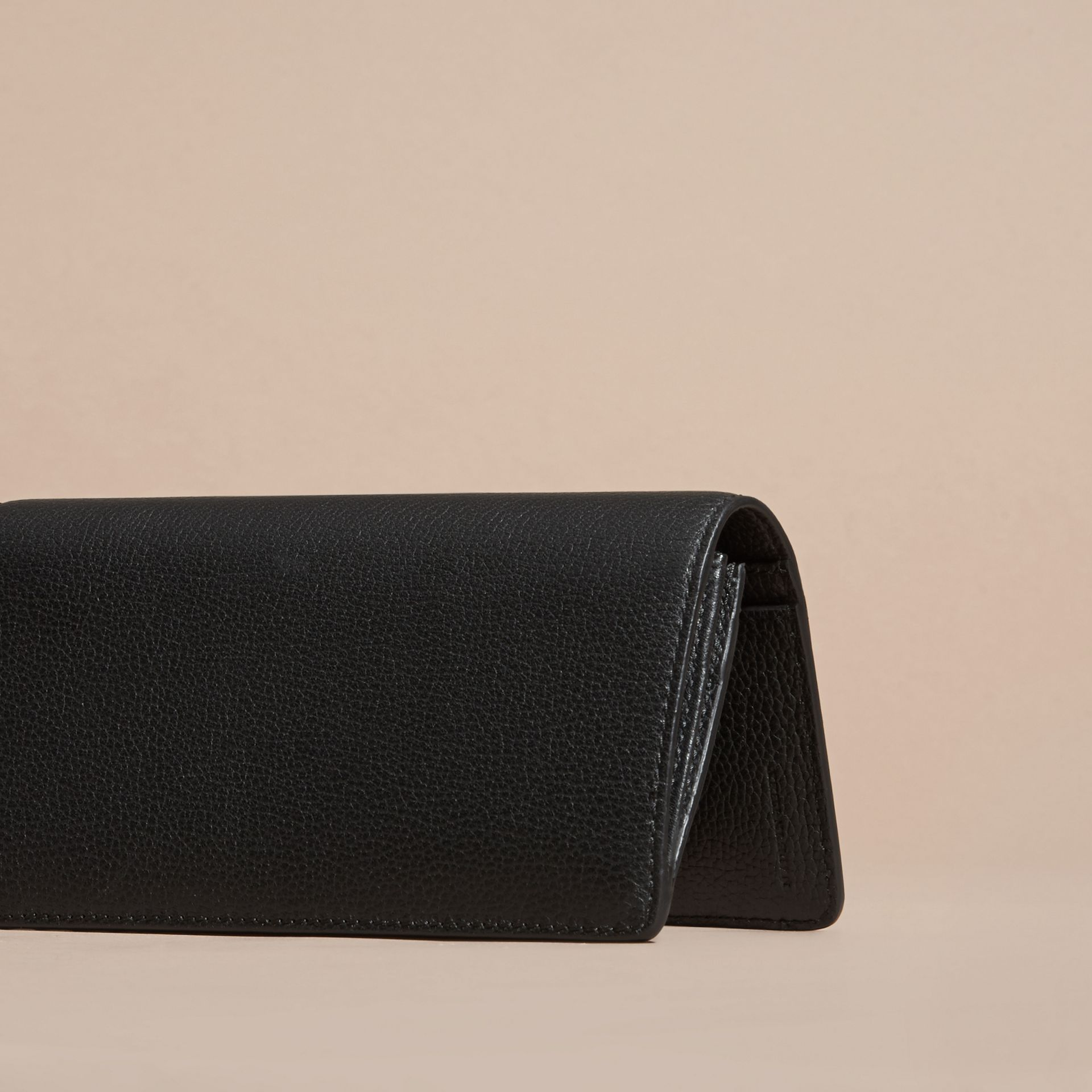 Black Grainy Leather Continental Wallet Black - gallery image 4