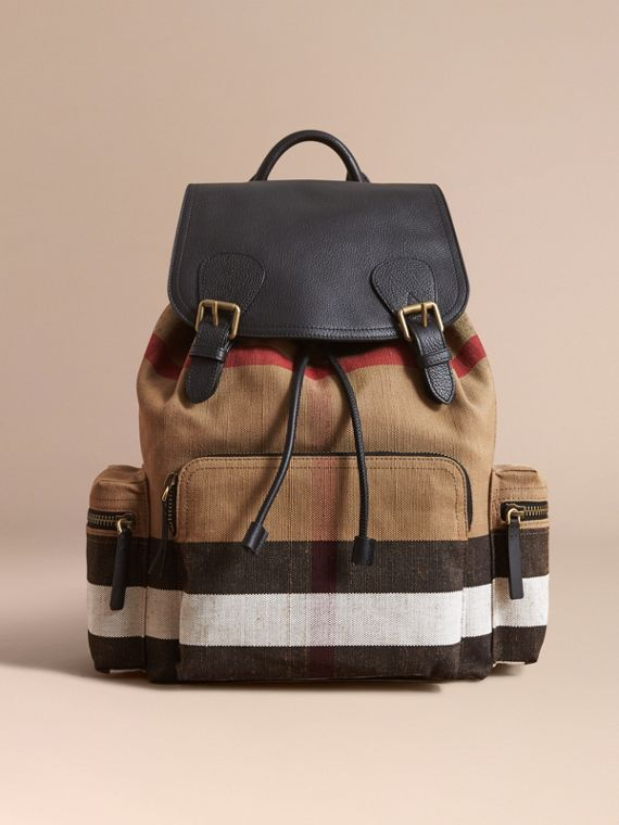 The Large Rucksack in Canvas Check and Leather in Classic