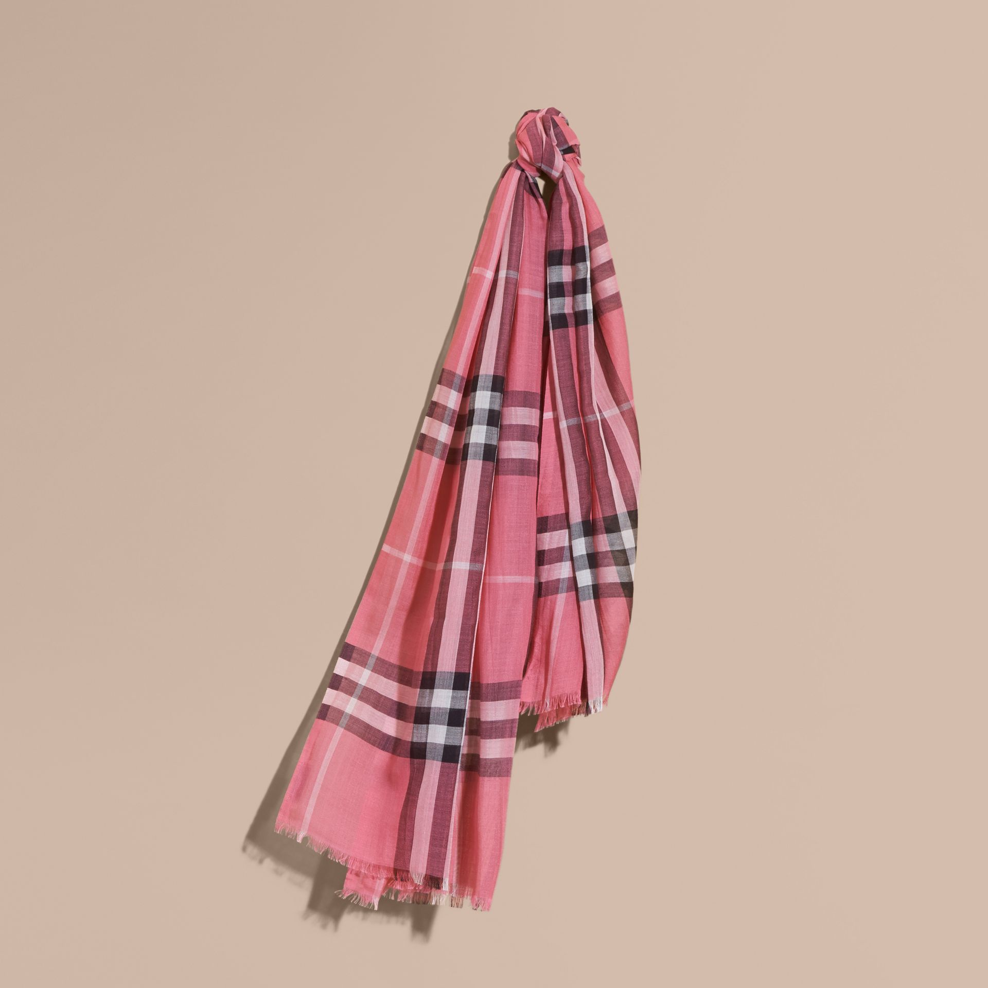 Lightweight Check Wool and Silk Scarf in Rose Pink - gallery image 1