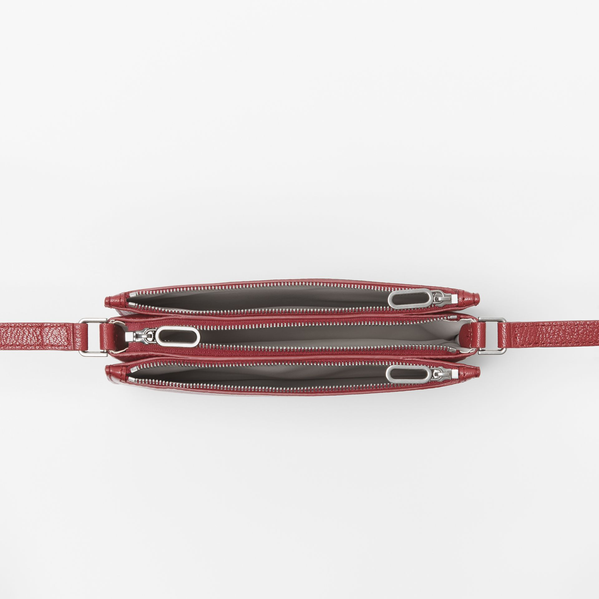 Triple Zip Grainy Leather Crossbody Bag in Crimson - Women | Burberry - gallery image 4