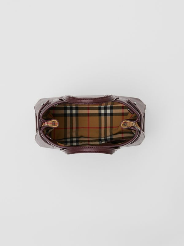 The Small Banner Bag in Leather and Vintage Check in Mahogany Red - Women | Burberry - cell image 3