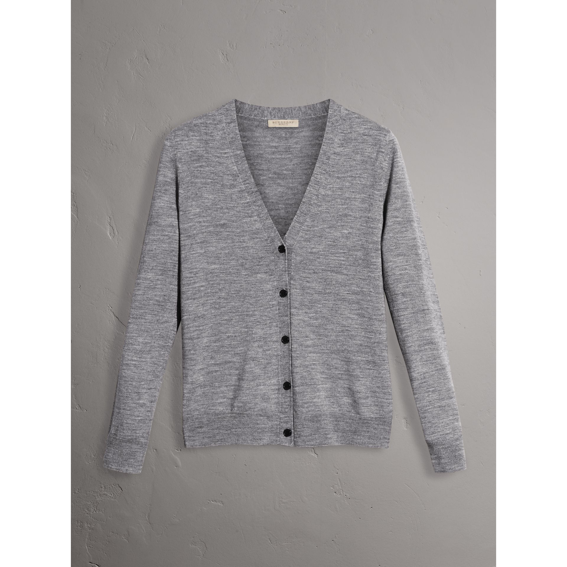 Check Detail Merino Wool Cardigan in Mid Grey Melange - Women | Burberry United Kingdom - gallery image 3
