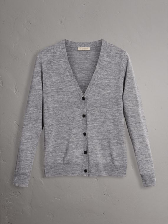 Check Detail Merino Wool Cardigan in Mid Grey Melange - Women | Burberry United Kingdom - cell image 3