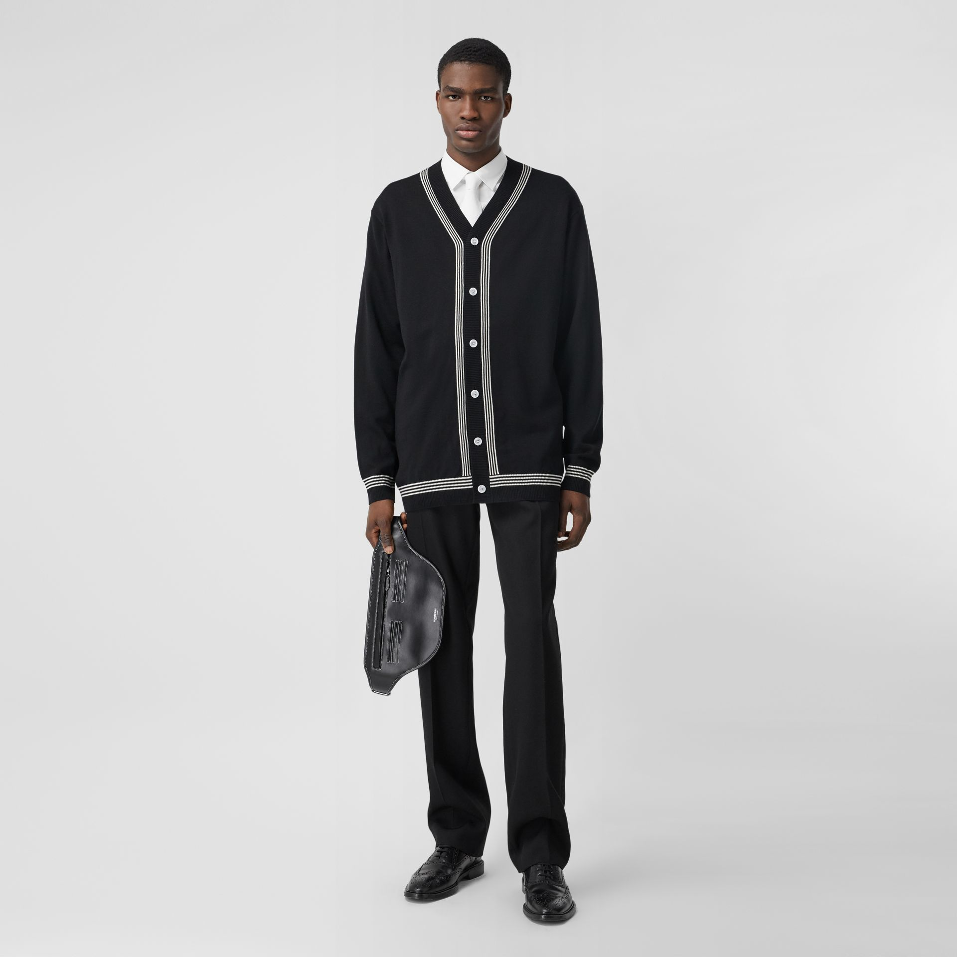 Stripe Detail Merino Wool Oversized Cardigan in Black - Men | Burberry - gallery image 5