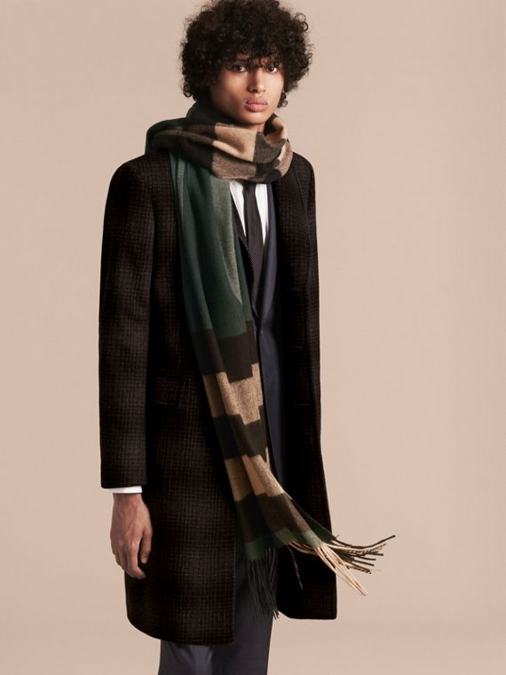 Dark green/ camel Oversize Check Cashmere Scarf Dark Green/ Camel - cell image 2