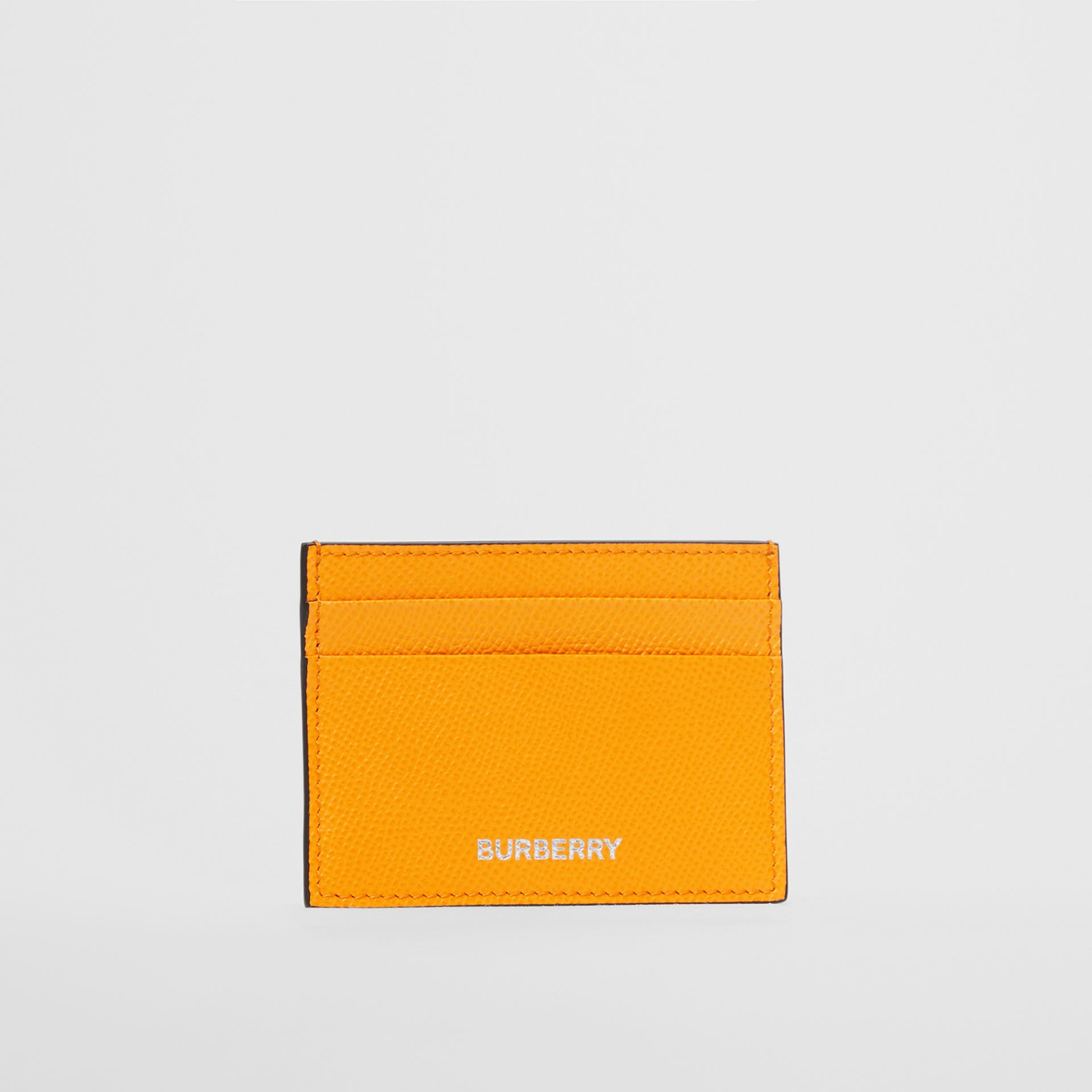 Grainy Leather Card Case in Bright Orange - Men | Burberry - gallery image 2