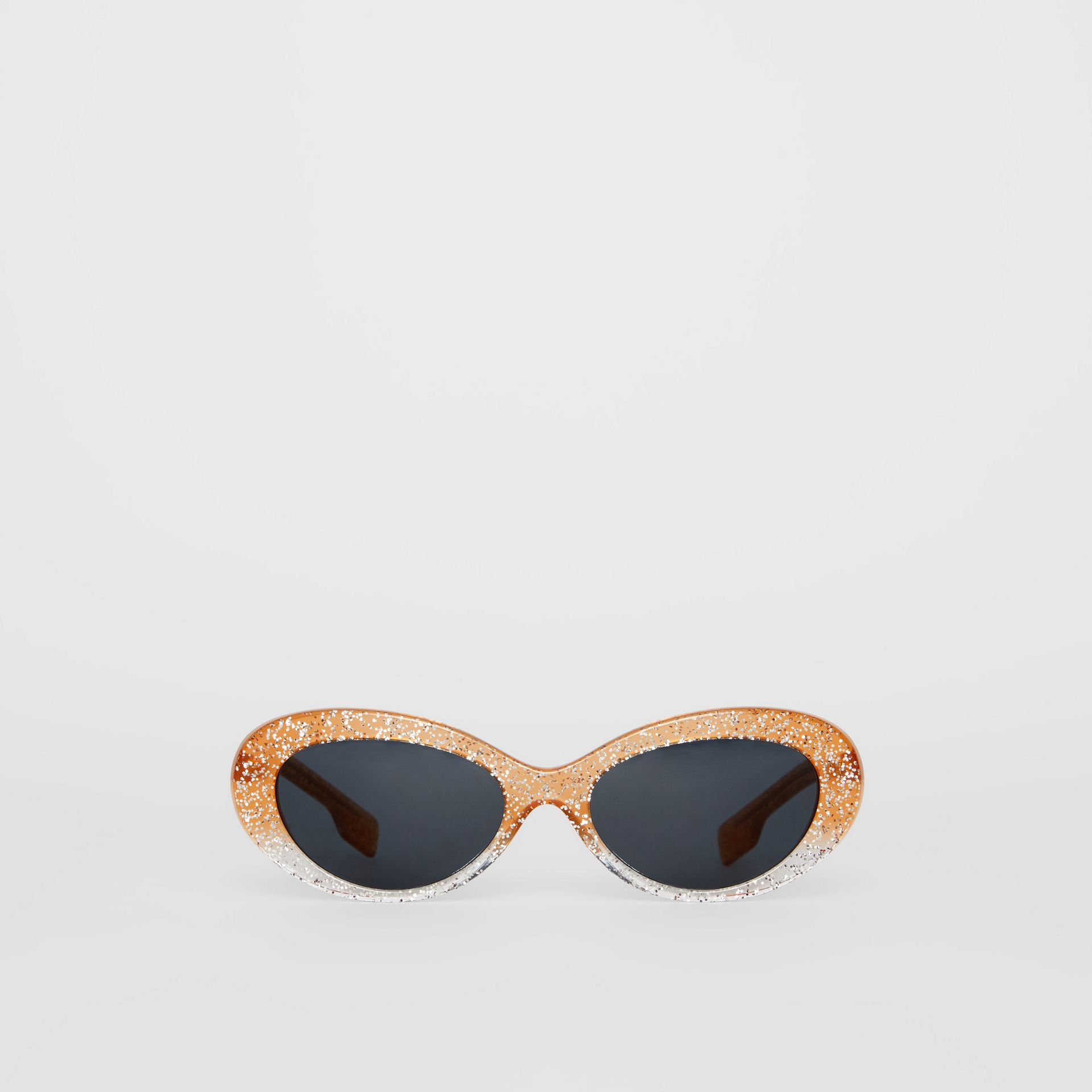 Glitter Detail Cat-eye Frame Sunglasses in Orange - Women | Burberry United Kingdom - gallery image 0