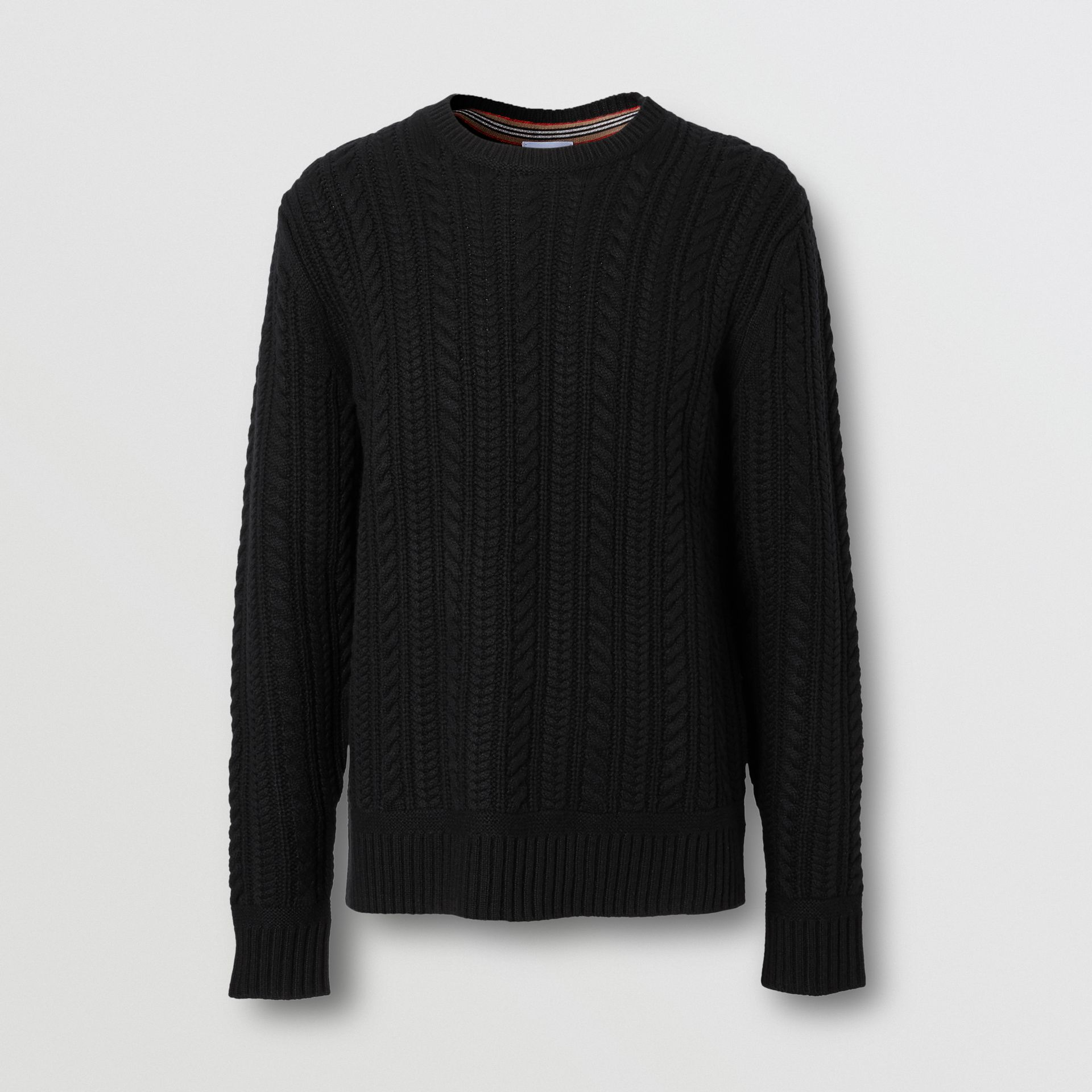 Cable Knit Cashmere Sweater in Black - Men | Burberry - gallery image 3
