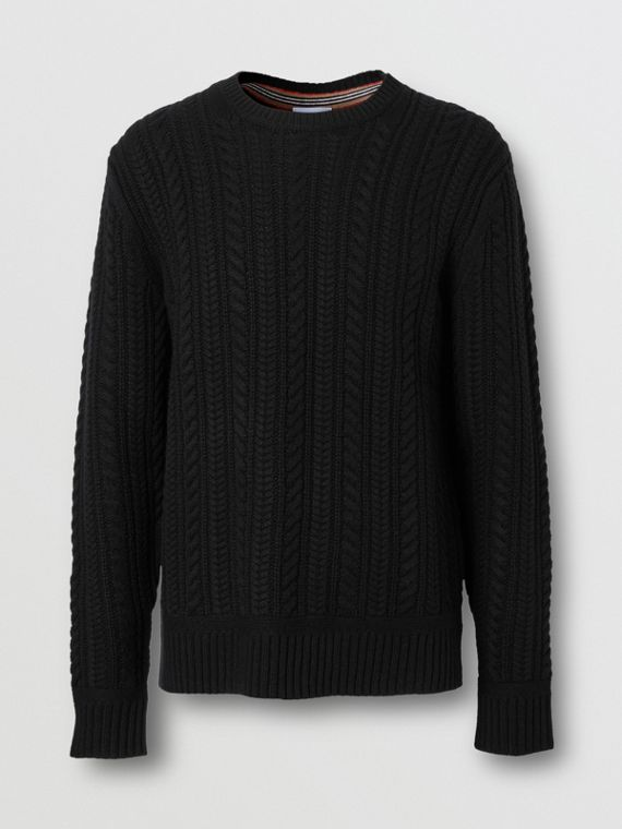 Cable Knit Cashmere Sweater in Black