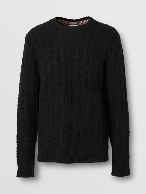 Cable Knit Cashmere Sweater in Black - Men | Burberry - cell image 3