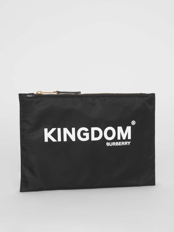 Kingdom Print Nylon Pouch in Black | Burberry Canada - cell image 3