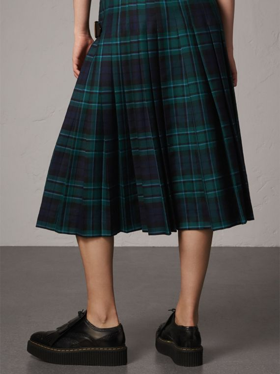 Tartan Wool Kilt in Pine Green - Women | Burberry Singapore - cell image 2