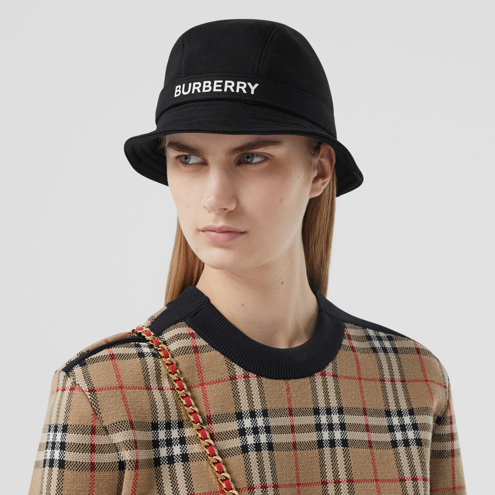Logo Print Cotton Jersey Bucket Hat in Black | Burberry United Kingdom - gallery image 2