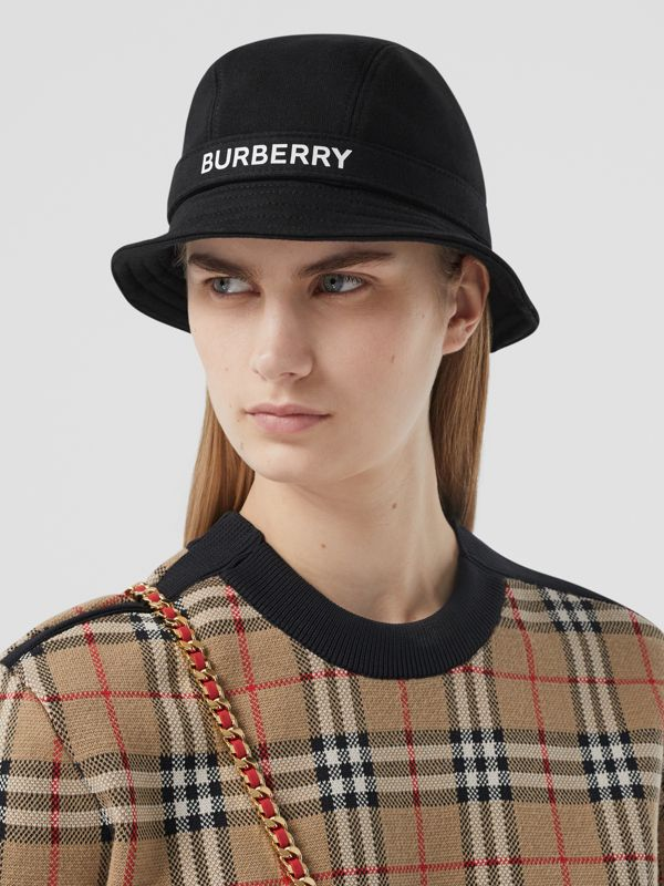 Logo Print Cotton Jersey Bucket Hat in Black | Burberry United Kingdom - cell image 2