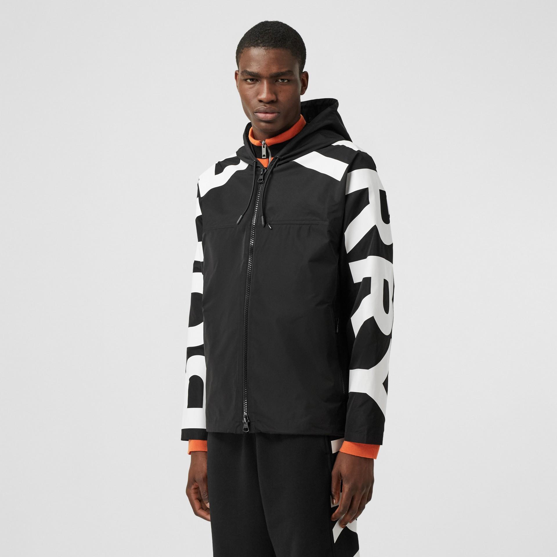 Logo Print Shape-memory Taffeta Hooded Jacket in Black | Burberry United Kingdom - gallery image 3