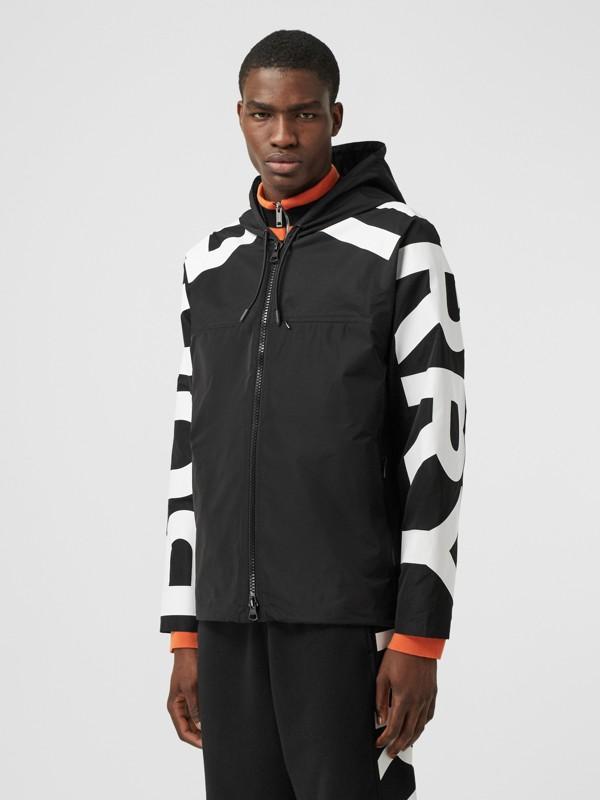 Logo Print Shape-memory Taffeta Hooded Jacket in Black | Burberry United Kingdom - cell image 3