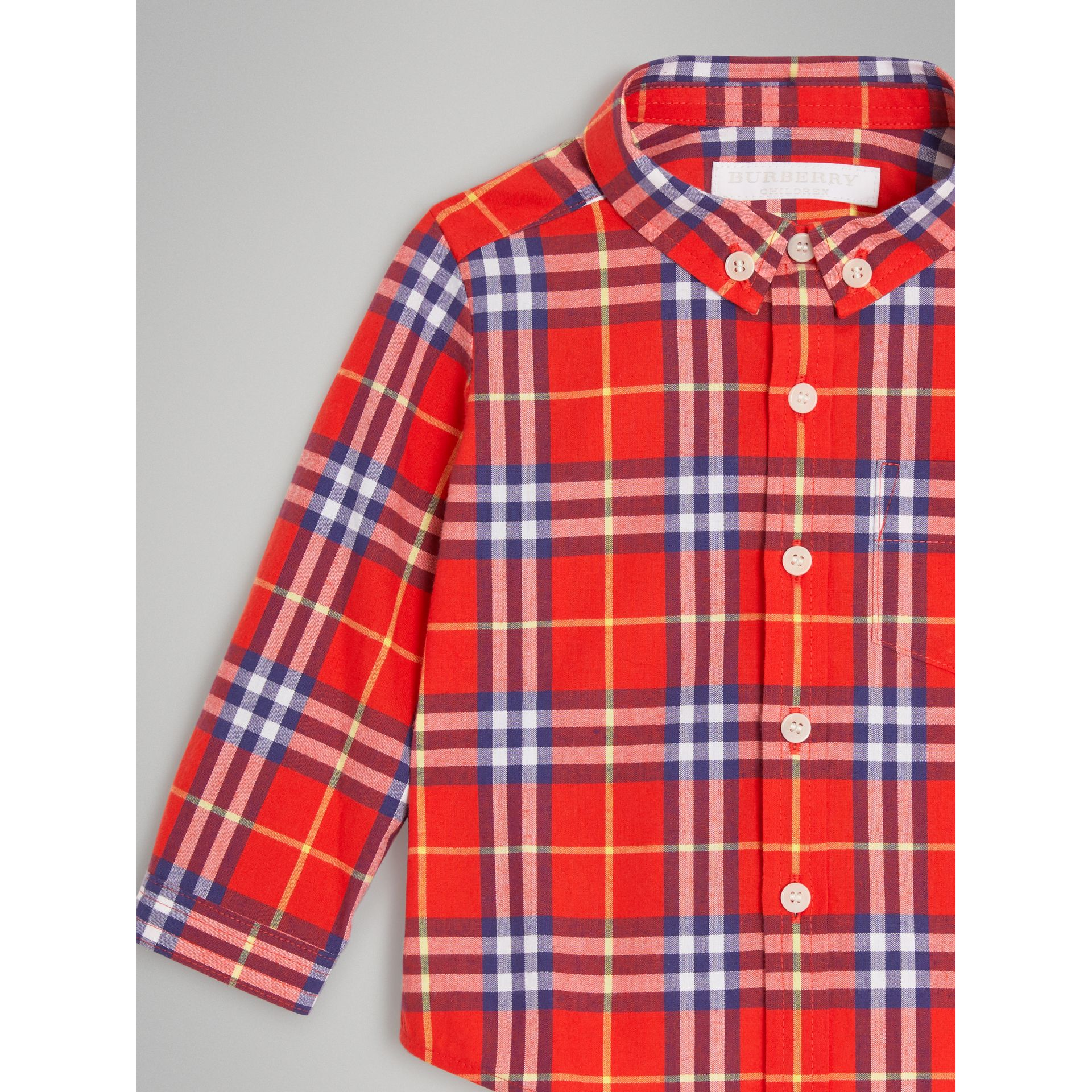 Button-down Collar Check Cotton Shirt in Orange Red - Children | Burberry United States - gallery image 4