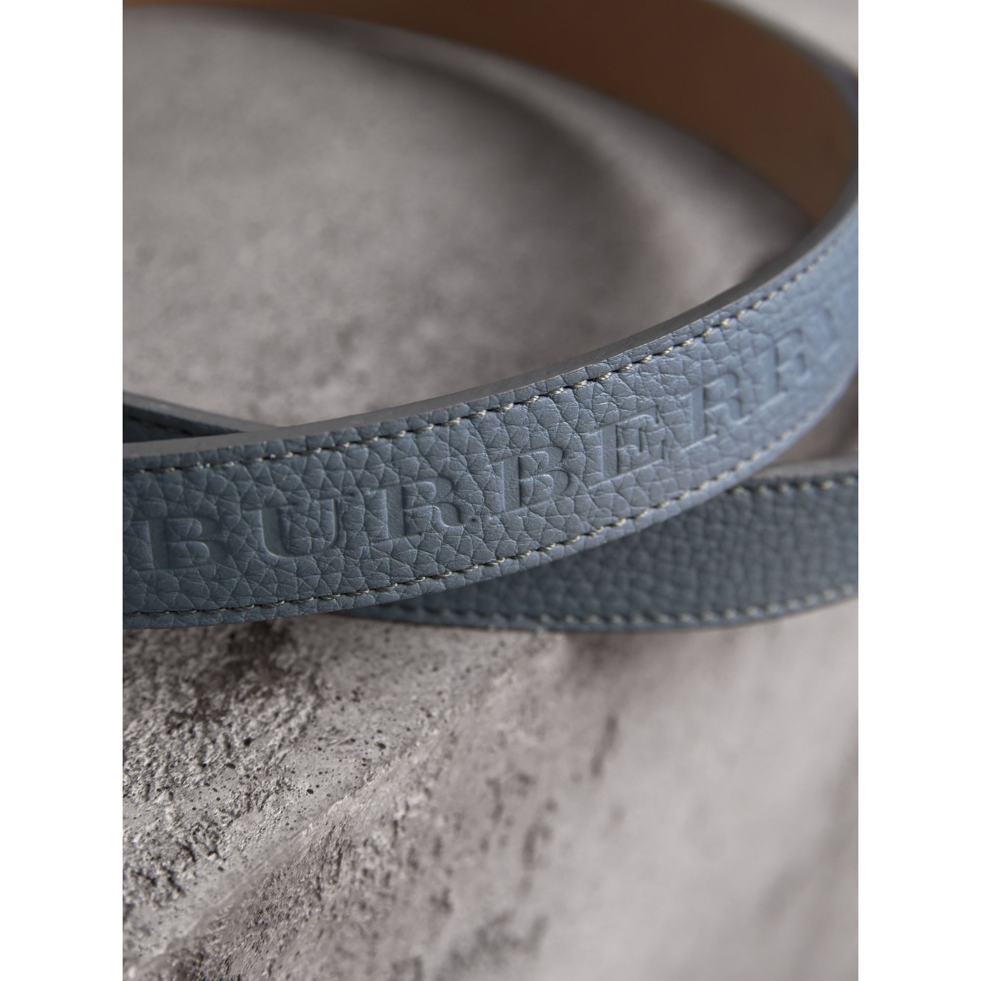 Embossed Leather Belt in Dusty Teal Blue - Women | Burberry - gallery image 2