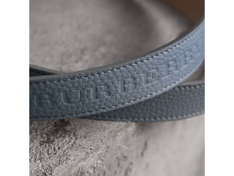 Embossed Leather Belt in Dusty Teal Blue - Women | Burberry Australia - cell image 1