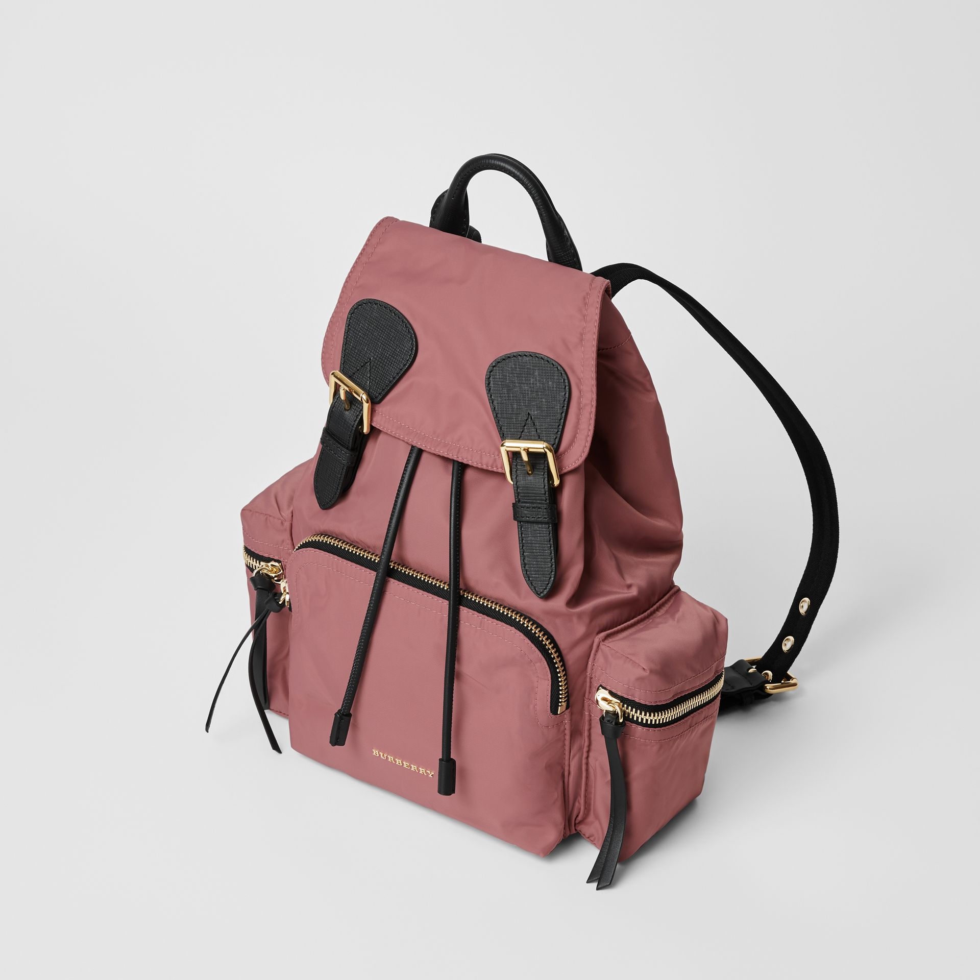 The Medium Rucksack in Technical Nylon and Leather in Mauve Pink - Women | Burberry United States - gallery image 3