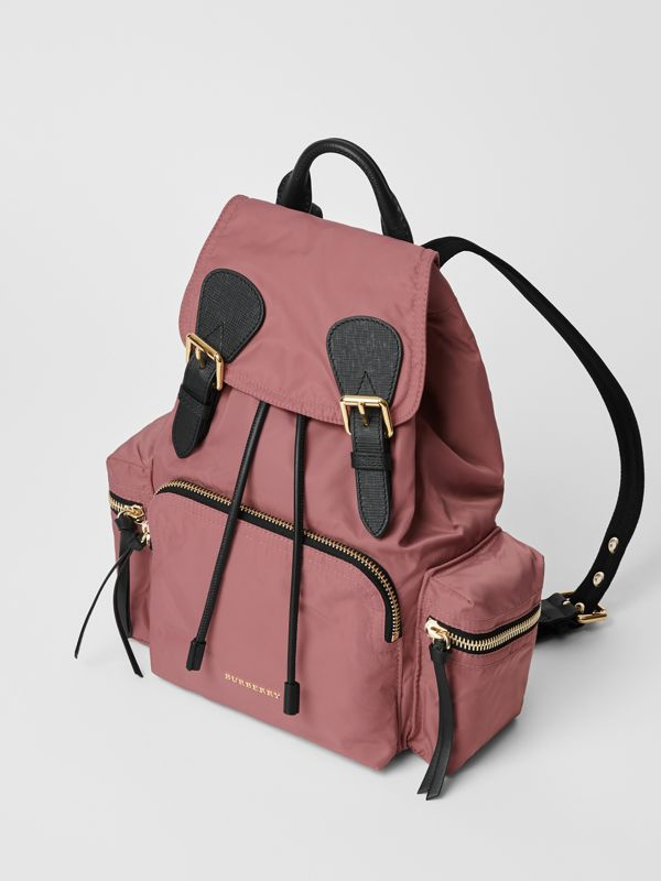 The Medium Rucksack in Technical Nylon and Leather in Mauve Pink - Women | Burberry United States - cell image 3