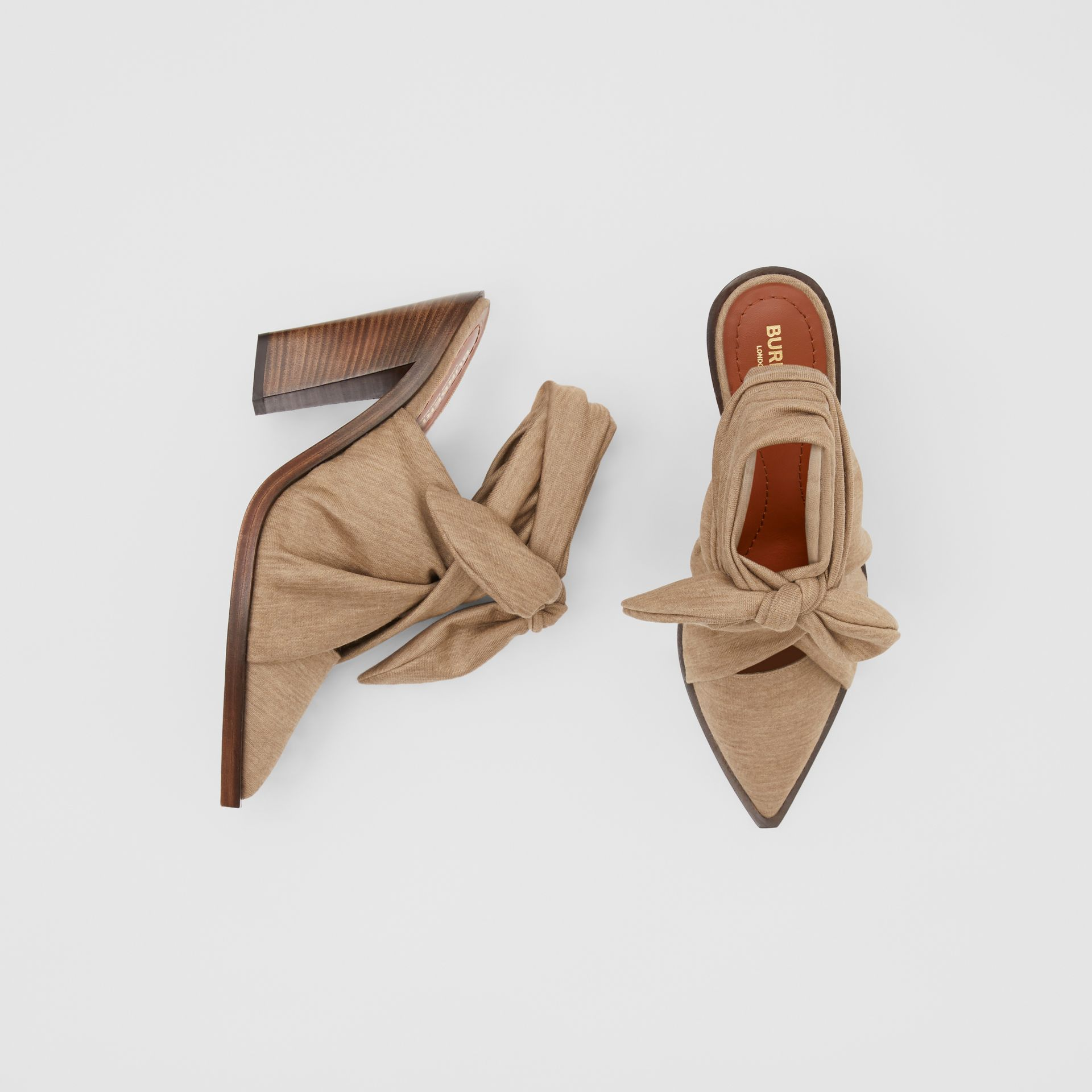 Scarf Tie Detail Technical Wool Point-toe Mules in Pecan Melange - Women | Burberry - gallery image 0