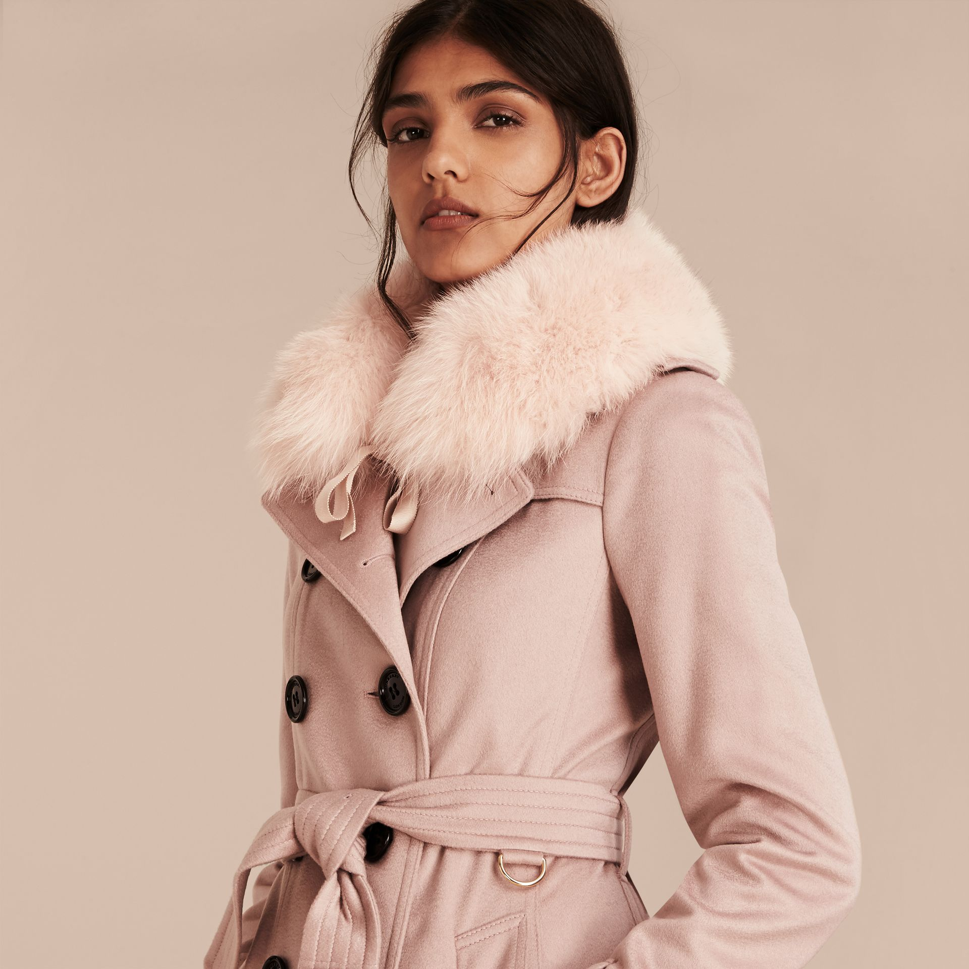 Ash rose Fox Fur Collar with Check Cashmere Lining Rose - gallery image 3