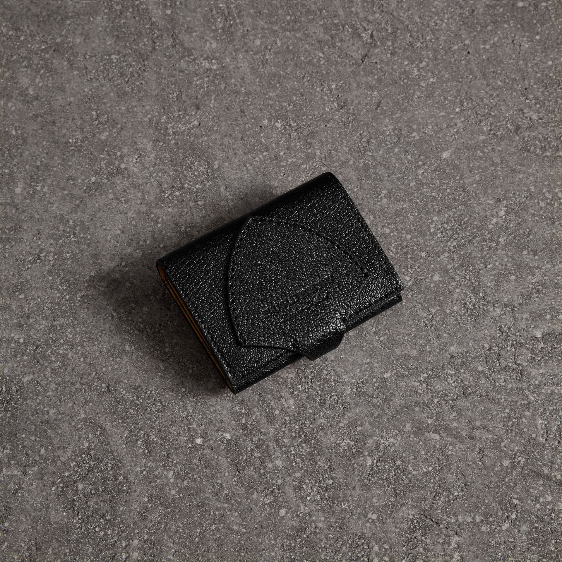 Equestrian Shield Two-tone Leather Folding Wallet in Black - Women | Burberry Canada - gallery image 0