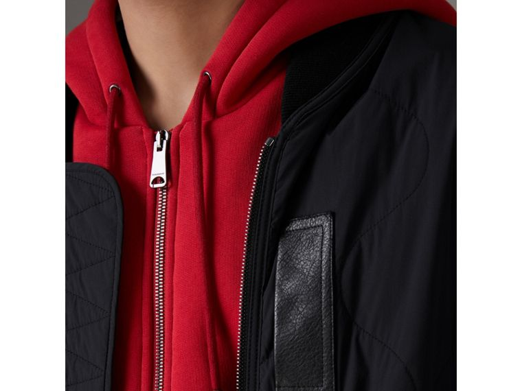 Leather Trim Lightweight Quilted Bomber Jacket in Black - Men | Burberry Australia - cell image 1