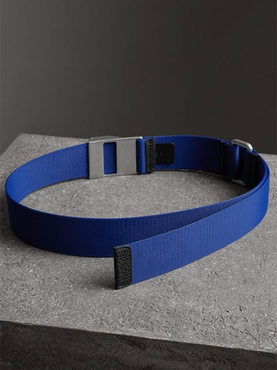 Plaque Buckle Nylon Belt in Dark Canvas Blue - Men | Burberry - cell image 3