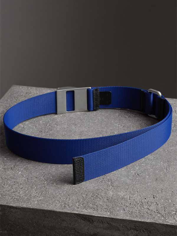 Plaque Buckle Nylon Belt in Dark Canvas Blue - Men | Burberry United Kingdom - cell image 3