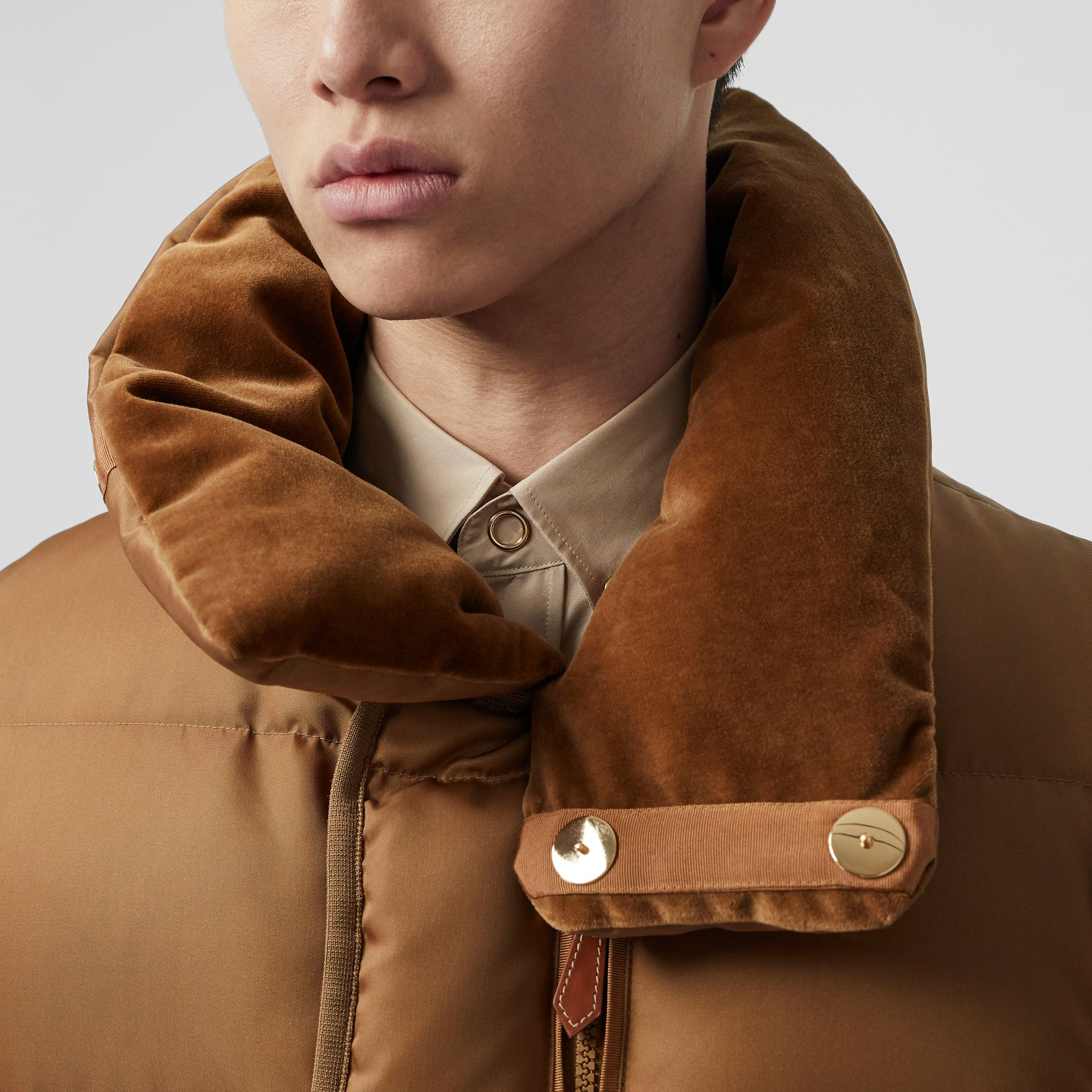 Velvet Trim Down-filled Nylon Puffer Gilet in Warm Walnut - Men | Burberry - gallery image 1