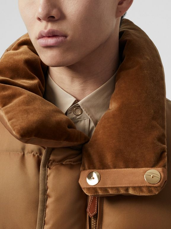 Velvet Trim Down-filled Nylon Puffer Gilet in Warm Walnut - Men | Burberry - cell image 1