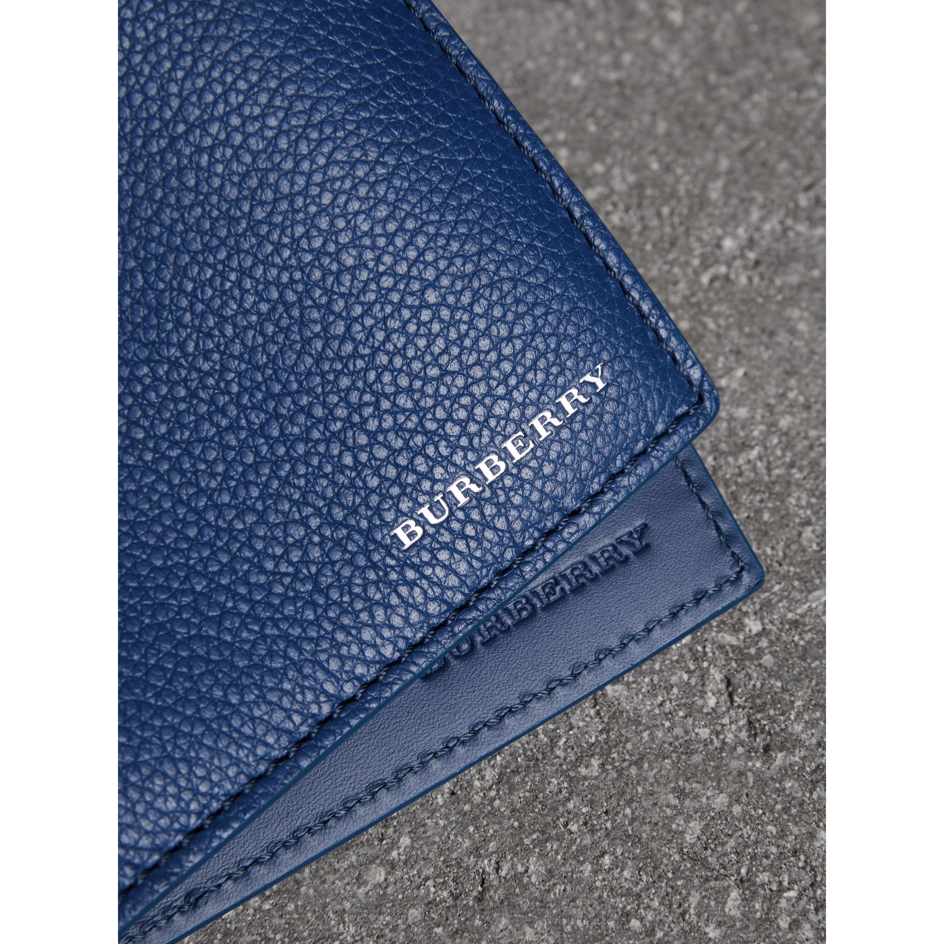 Grainy Leather International Bifold Wallet in Bright Ultramarine - Men | Burberry Singapore - gallery image 1