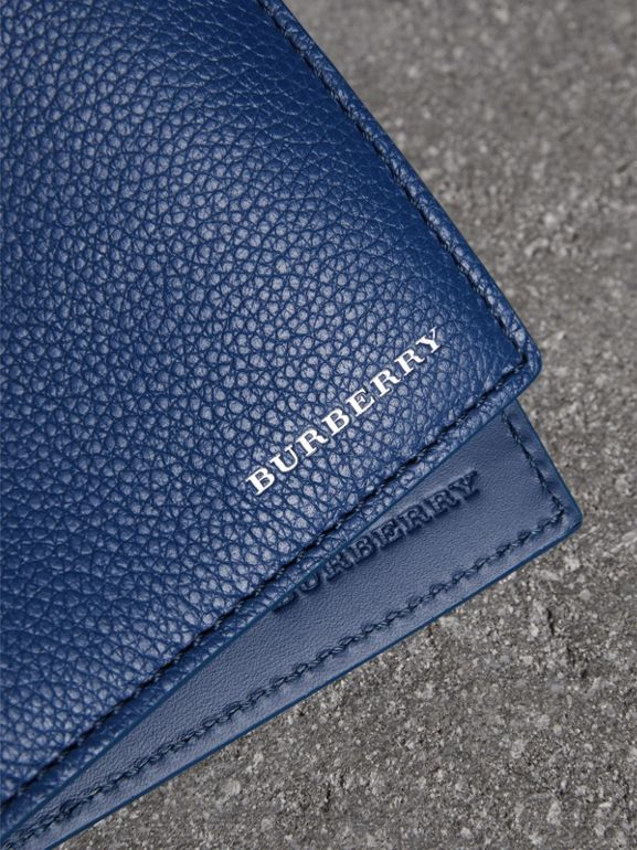 Grainy Leather International Bifold Wallet in Bright Ultramarine - Men | Burberry Singapore - cell image 1